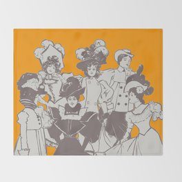 Vintage Ladies APRICOT / Vintage illustration redrawn and repurposed Throw Blanket