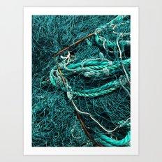 Teal Nautical Rope Art Print