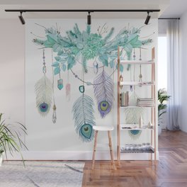 Peacock And Eucalyptus Crystal Spirit Gazer Wall Mural