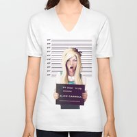 party V-neck T-shirts featuring Alice by adroverart