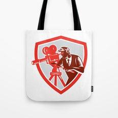 Cameraman Vintage Movie Camera Shield Woodcut Tote Bag