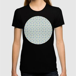 Yellow & Blue Geometric Greek Key Pattern T-shirt
