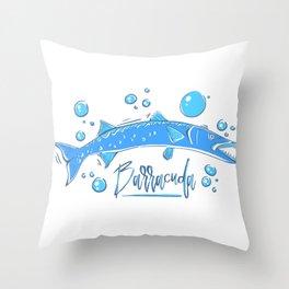 Big Blue Barracuda Throw Pillow