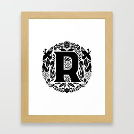 Letter R monogram wildwood Framed Art Print
