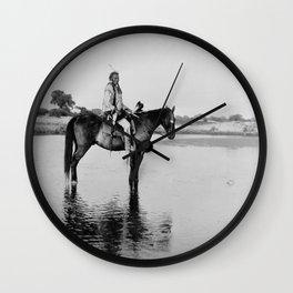 The Lone Chief, Cheyenne by Edward Curtis, 1927 Wall Clock