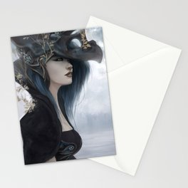 Bluish Black - Mysterious fantasy mage girl portrait Stationery Cards
