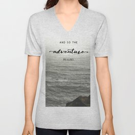 And So The Adventure Begins - Ocean Emotion Black and White Unisex V-Neck