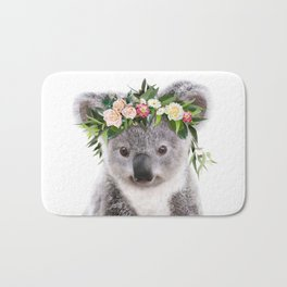 Baby Koala With Flower Crown, Baby Animals Art Print By Synplus Bath Mat