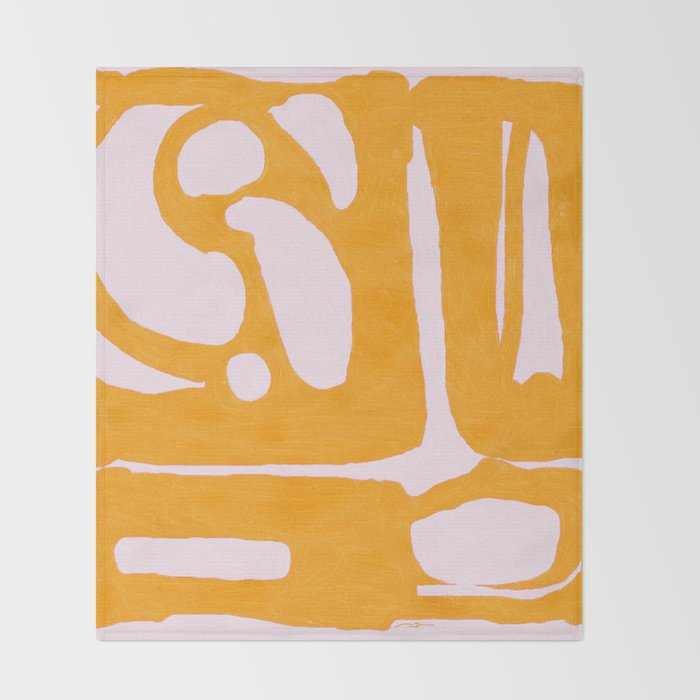Abstract in Yellow and Cream Throw Blanket