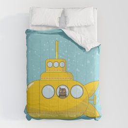 Yellow submarine with a cat and bubbles Comforters
