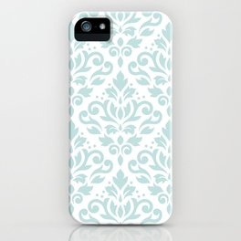 Scroll Damask Lg Pattern Duck Egg Blue on White iPhone Case