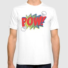 Pow! MEDIUM Mens Fitted Tee White