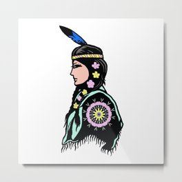 Indian woman with flowers Metal Print
