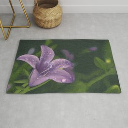 Purple lily flower with dew Rug