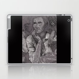 Black & White 1930's OLd Woman Pencil Drawing Photo Laptop & iPad Skin