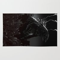 godzilla Area & Throw Rugs featuring Godzilla by John Amor