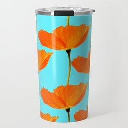Poppies On A Turquoise Background #decor #society6 #buyart Travel Mug