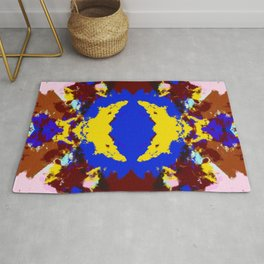 Kama - Abstract Colorful Batik Ink Blot Art Rug