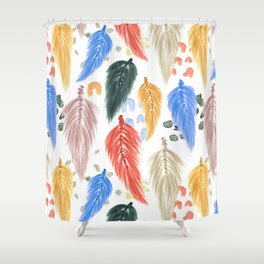 Watercolor Macrame Feathers + Dots in Earthtone Rainbow Shower Curtain