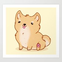shiba inu Art Prints featuring Shiba Inu by Berneri