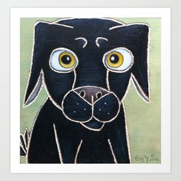 Sweet Black Dog Art Print