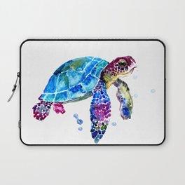 Sea Turtle, Blue Purple Turtle illustration, Sea Turtle design Laptop Sleeve