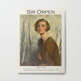 Vintage poster William Orpen 1878-1931 Gladys Cooper. Oil painting-portrait of a girl. Metal Print