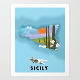 Sicily Travel poster. Art Print