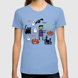 Cute Frankenstein and friends green #halloween T-shirt