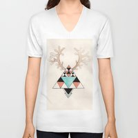 moose V-neck T-shirts featuring Moose by Linneajak