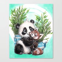 red panda Canvas Prints featuring Panda red panda by Bianca Roman-Stumpff