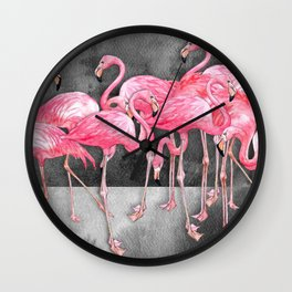 Flamingo Collage in Watercolor and Ink Wall Clock