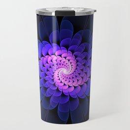 Spiraling Flower Fractal in Blue and Purple Travel Mug