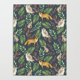 Fox, owl, rabbit Poster