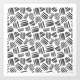 Abstract black white watercolor brushstrokes motif Art Print