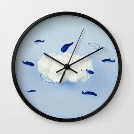 Whales around the cloud Wall Clock