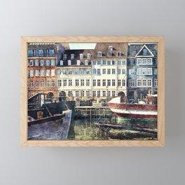 Copenhagen, Nyhavn harbor famous landmark and entertainment district Framed Mini Art Print