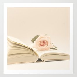 Soft rose on the book (Retro and Vintage Still Life Photography) Art Print