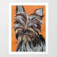 yorkie Art Prints featuring Yorkie by GiGi Garcia Collages