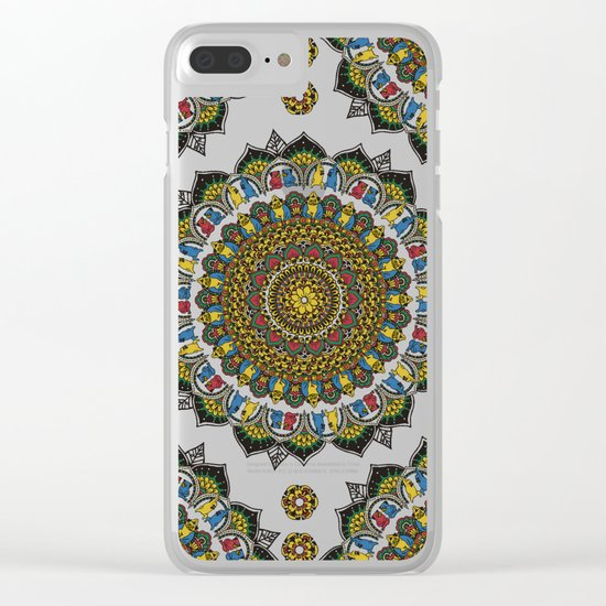 Pugs Yoga Mandala Clear iPhone Case