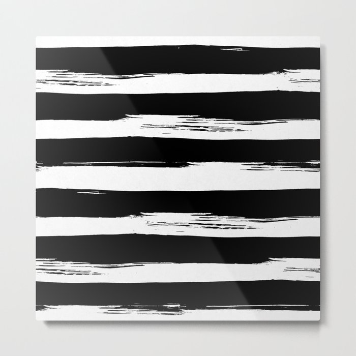 Paint Stripes Black and White Metal Print