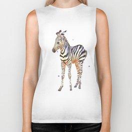zebra, baby zebra, african wildlife, black and white, stripes, safari art Biker Tank