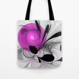 Abstract Black and White with Pink Tote Bag