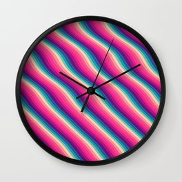Abstract Color Burn Pattern - Geometric Lines / Optical Illusion in Rainbow Acid Colors Wall Clock