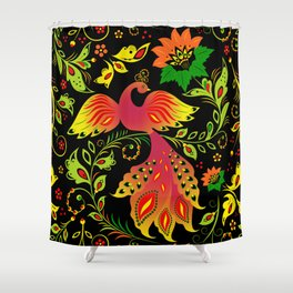 Fairy tale khokhloma bird Shower Curtain