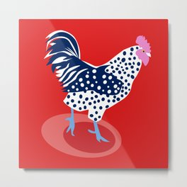 Red Chicken Metal Print