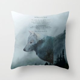 Wilderness Wolf & Poem Throw Pillow
