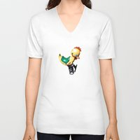 chicken V-neck T-shirts featuring chicken by BzPortraits