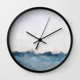 Sky Denim Indigo Navy Blue Ocean Sea Horizon, Abstract Nature Ocean Sunny Clear Morning Water, Paint Wall Clock