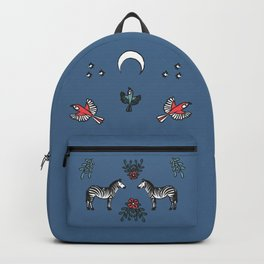 Zebra and parrots under the moon Backpack
